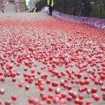 Thousands of Jaffas are rolled down Baldwin Street in Dunedin - the steepest street in the world - as part of the annual Cadbury Chocolate Carnival.. Tourism Dunedin
