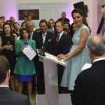 Britain's Catherine, Duchess of Cambridge speaks during an evening reception at the National Portrait Gallery in London