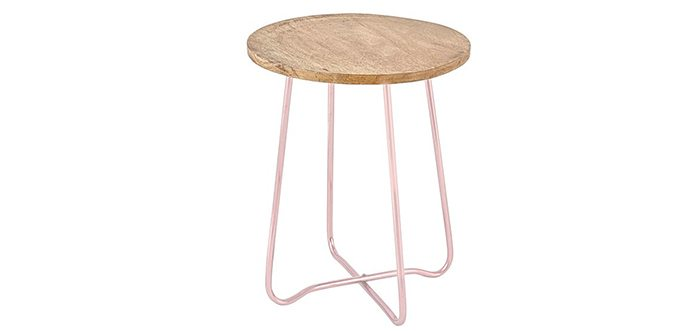 Pastel Side Table ~ Decorating with rose quartz mindfood style
