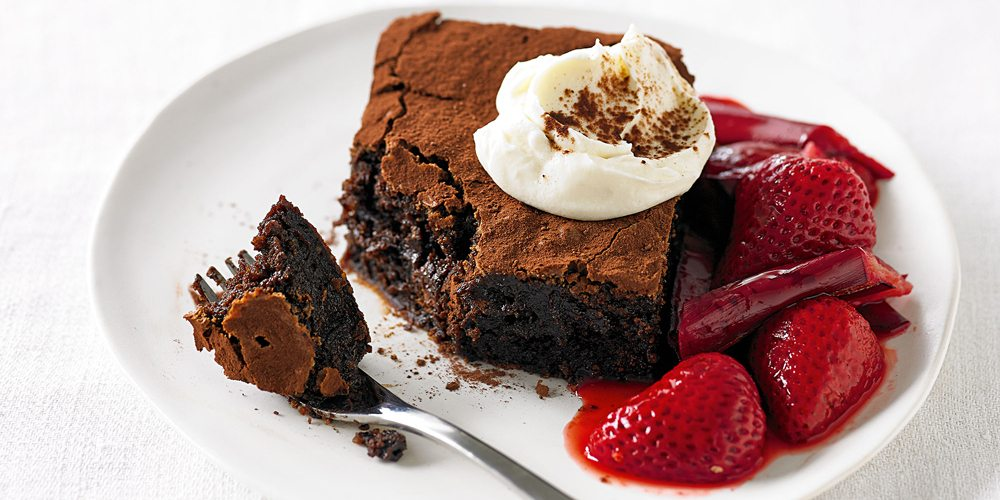 Flourless Hazelnut Chocolate Cake With Roasted Fruits