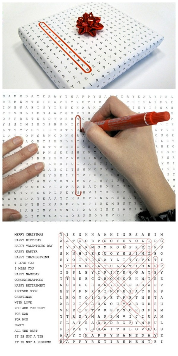 Extend the gift unwrapping process by wrapping parcels with puzzles and find-a-words. From duitang.com