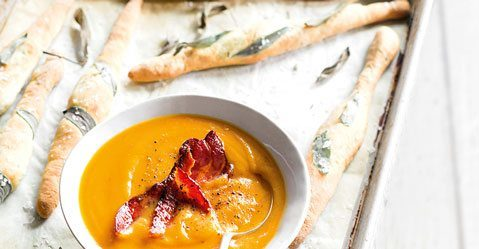 Kumara Soup with Maple Bacon & Sage Grissini