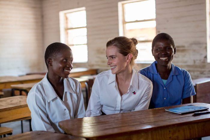 Emma Watson visits Mtakataka Secondary School in the District of Dedza where she hears from Stella Kalilombe and Cecilia Banda whose marriages were anulled and they returned to school. Photo: UN Women/Karin Schermbrucker