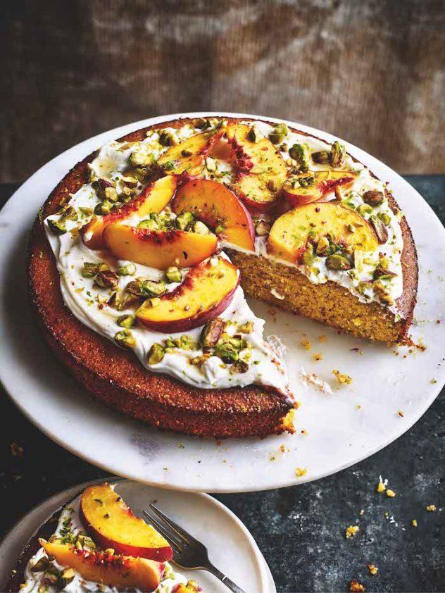 Peach, Lime & Pistachio Polenta Cake | MiNDFOOD