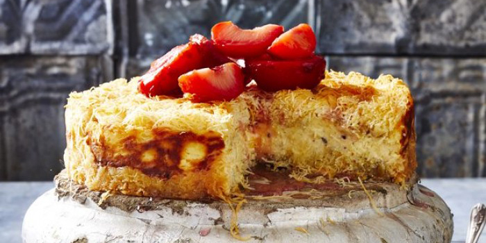 Kanafeh Cheesecake with Plums and Rosewater Syrup
