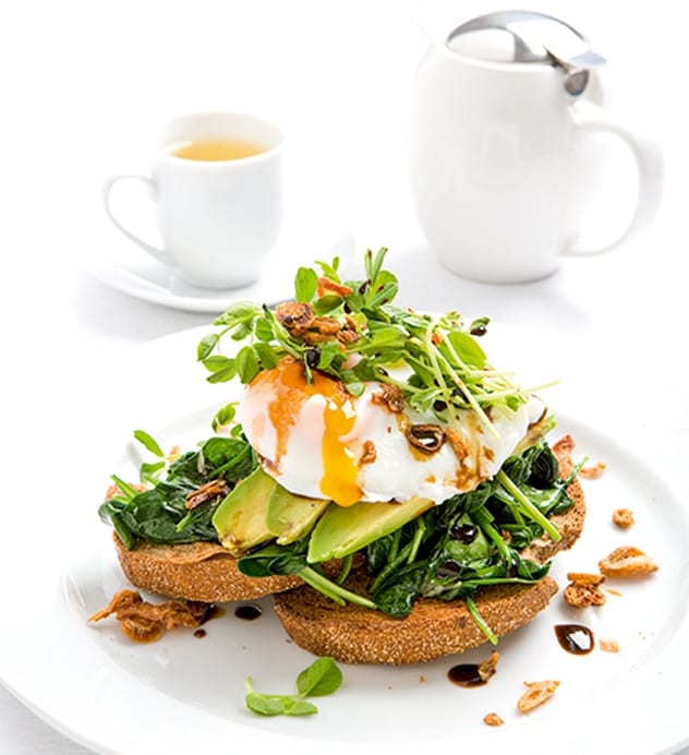 Rye Toast with Poached Free-Range Eggs, Wilted Spinach, Avocado & Sprouts